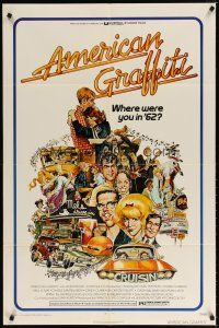 7h048 AMERICAN GRAFFITI 1sh '73 George Lucas teen classic, it was the time of your life!