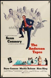 7h049 ANDERSON TAPES 1sh '71 art of Sean Connery & gang of masked robbers, Sidney Lumet
