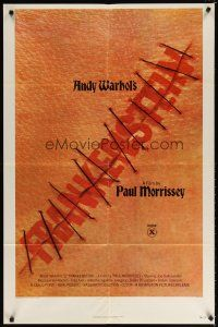 7h050 ANDY WARHOL'S FRANKENSTEIN 1sh '74 Paul Morrissey, great image of title in stitches!