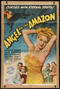7h051 ANGEL ON THE AMAZON 1sh '48 art of George Brent, Vera Ralston, panther attack!