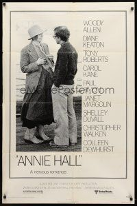 7h055 ANNIE HALL 1sh '77 full-length Woody Allen & Diane Keaton in a nervous romance!
