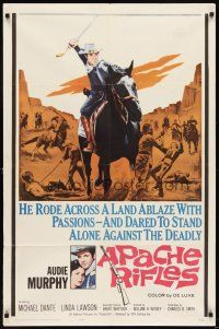 7h057 APACHE RIFLES 1sh '64 Audie Murphy vowed to stop the bloodshed of two warring nations!