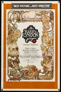 7h074 BARRY LYNDON 1sh '75 Stanley Kubrick, Ryan O'Neal, great art of cast!