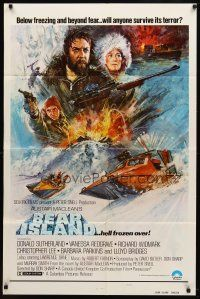 7h076 BEAR ISLAND style B 1sh '81 art of Donald Sutherland & Vanessa Redgrave by Bysouth!