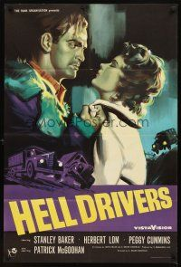 7h001 HELL DRIVERS English 1sh '57 great art of Stanley Baker grabbing sexy redhead Peggy Cummins!