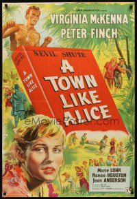 7h010 TOWN LIKE ALICE English 1sh '57 Virginia McKenna, Peter Finch, from Nevil Shute book!