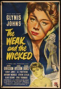 7h012 WEAK & THE WICKED English 1sh '54 artwork of Glynis Johns & sexiest bad girl Diana Dors!
