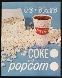 7k029 COCA-COLA COKE & POPCORN soft drink sales posters '60s cool lobby displays!