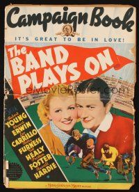 7k035 BAND PLAYS ON pressbook '34 Robert Young, Betty Furness, cool college football image!