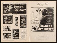 7k038 BEWARE MY LOVELY pressbook '52 flm noir, Ida Lupino trapped by a man beyond control!