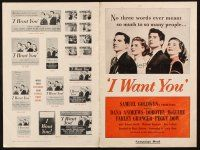7k063 I WANT YOU pressbook '51 Dana Andrews, Dorothy McGuire, Farley Granger, Peggy Dow