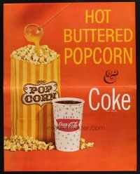 7k028 COCA-COLA HOT BUTTERED POPCORN & COKE soft drink sales posters '60s cool lobby displays!