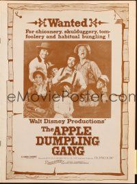 7k034 APPLE DUMPLING GANG pressbook '75 Disney, Don Knotts in motion picture of profound nonsense!