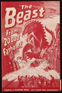 7k036 BEAST FROM 20,000 FATHOMS pressbook '53 Ray Bradbury, the sea's master-beast of the ages!