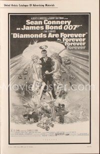 7k046 DIAMONDS ARE FOREVER pressbook '71 art of Sean Connery as James Bond 007 by Robert McGinnis!