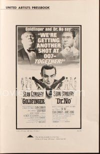 7k055 GOLDFINGER/DR. NO pressbook '66 Sean Connery as James Bond, great image of villains!