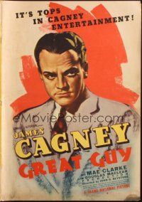 7k057 GREAT GUY pressbook '36 great artwork of James Cagney, pretty Mae Clarke, cool posters!