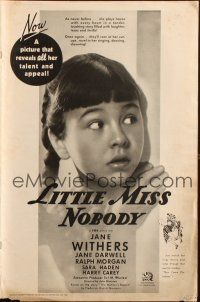 7k072 LITTLE MISS NOBODY pressbook '36 great close up of scared orphan Jane Withers!