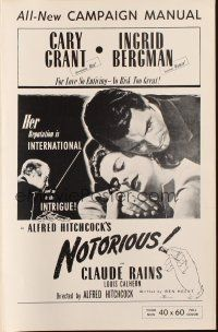 7k082 NOTORIOUS pressbook R54 close up of Cary Grant & Ingrid Bergman, Alfred Hitchcock classic!
