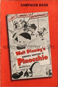 7k088 PINOCCHIO pressbook R54 Disney classic cartoon about a wooden boy who wants to be real!