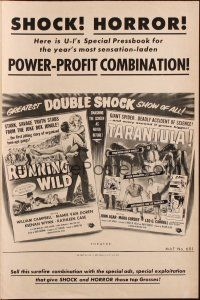 7k091 RUNNING WILD/TARANTULA pressbook '50s the greatest double shock show of all!