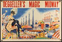 7x041 DEGGELLER'S MAGIC MIDWAY circus poster '50s art of sexy showgirl, clown & attractions!