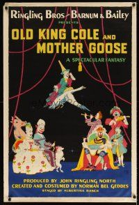7x042 OLD KING COLE & MOTHER GOOSE circus poster '40s Ringling Bros and Barnum & Bailey!