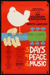 7x056 3 DAYS OF PEACE & MUSIC commercial poster '70s classic Arnold Skolnick art, Woodstock!