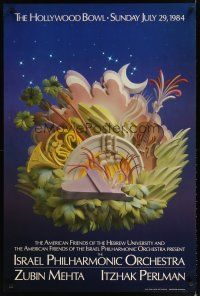 7x067 ISRAEL PHILHARMONIC ORCHESTRA 26x39 music poster '84 paper sculpture art by Leo Monahan!