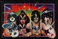 7x069 KISS 22x33 music poster '80 great Stabin artwork of the band in make-up!