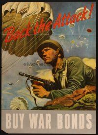 7x019 BACK THE ATTACK! 20x28 WWII war poster '43 Schreiber art of paratroopers over soldier w/gun!