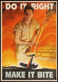 7x003 DO IT RIGHT MAKE IT BITE 29x40 WWII war poster '42 Beall art of worker & crashed aircraft!