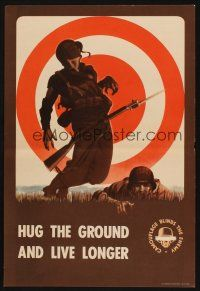 7x031 HUG THE GROUND & LIVE LONGER 14x20 WWII war poster '43 art of shot soldier who didn't listen