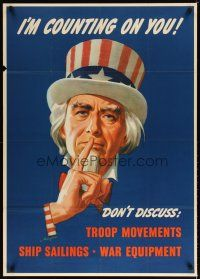 7x001 I'M COUNTING ON YOU 29x40 WWII war poster '43 Helquera artwork of Uncle Sam!
