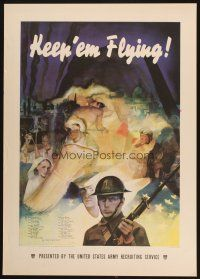 7x025 KEEP 'EM FLYING 20x29 WWII war poster '41 Beall art of Uncle Sam & soldier!