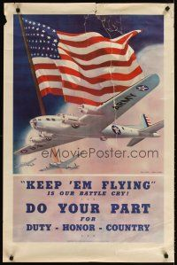7x008 KEEP 'EM FLYING 25x38 WWII war poster '42 art of bombers & flag by Smith & Downe!