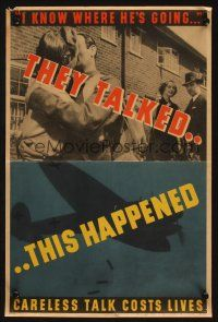 7x033 THEY TALKED THIS HAPPENED 13x20 English WWII war poster '43 image of couples & bomber!