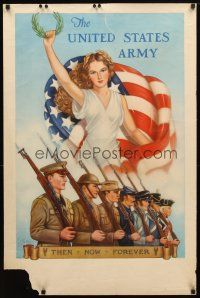 7x013 UNITED STATES ARMY 25x38 WWII war poster '40 Woodburn art of Lady Liberty & soldiers!