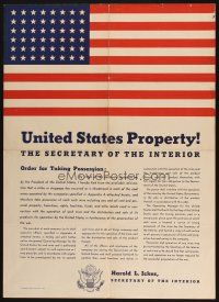 7x027 UNITED STATES PROPERTY 20x28 WWII war poster '43 order for possession, no strikes allowed!