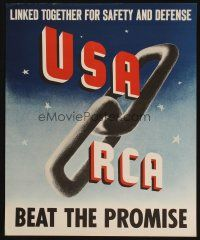 7x028 USA RCA 18x22 WWII war poster '40s WWII, linked together for safety & defense!