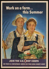 7x029 WORK ON A FARM THIS SUMMER 16x23 WWII war poster '43 Douglas art of happy farming couple!