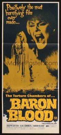 8c324 BARON BLOOD Aust daybill 72 Mario Bava Joseph Cotton Elke Sommer Italian horror