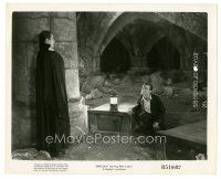 8k272 DRACULA 8x10 still R51 Tod Browning classic, vampire Bela Lugosi looks at Frye by coffins!