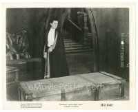 8k268 DRACULA 8x10 still R51 Tod Browning classic, c/u of vampire Bela Lugosi looking at coffin!