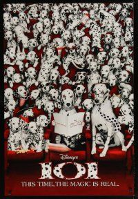 8s002 101 DALMATIANS int'l teaser 1sh '96 Walt Disney live action, dogs in theater!