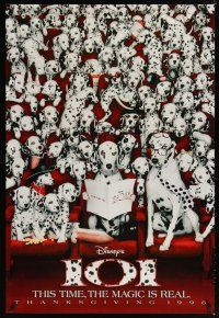 8s003 101 DALMATIANS Thanksgiving teaser DS 1sh '96 Walt Disney live action, dogs in theater!