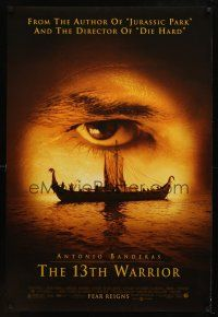 8s004 13th WARRIOR DS 1sh '99 extreme c/u of Antonio Banderas' eye, directed by Michael Crichton!