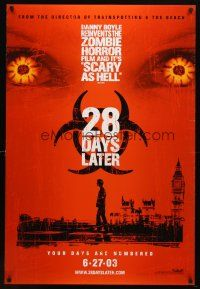 8s008 28 DAYS LATER teaser DS 1sh '03 Danny Boyle, Cillian Murphy vs. zombies in London!