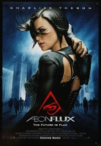 8s016 AEON FLUX advance DS 1sh '05 sexy futuristic Charlize Theron in leather!