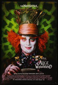 8s022 ALICE IN WONDERLAND close-up style advance DS 1sh '10 Tim Burton, Johnny Depp as Mad Hatter!